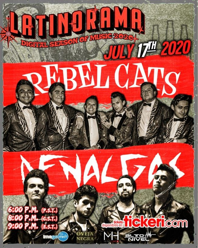Flyer for Latinorama: Rebel Cats y De Nalgas