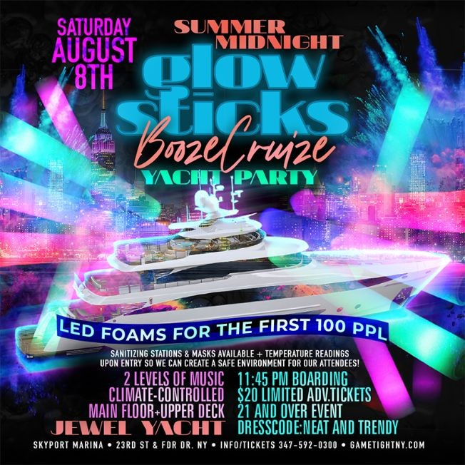 Flyer for NYC Summer Midnight Blackout Booze Cruise Yacht Party at Skyport Marina Jewel Yacht