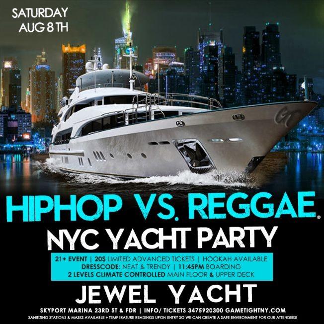 Flyer for NY HipHop vs. Reggae® Summer Midnight Yacht Party at Skyport Marina Jewel