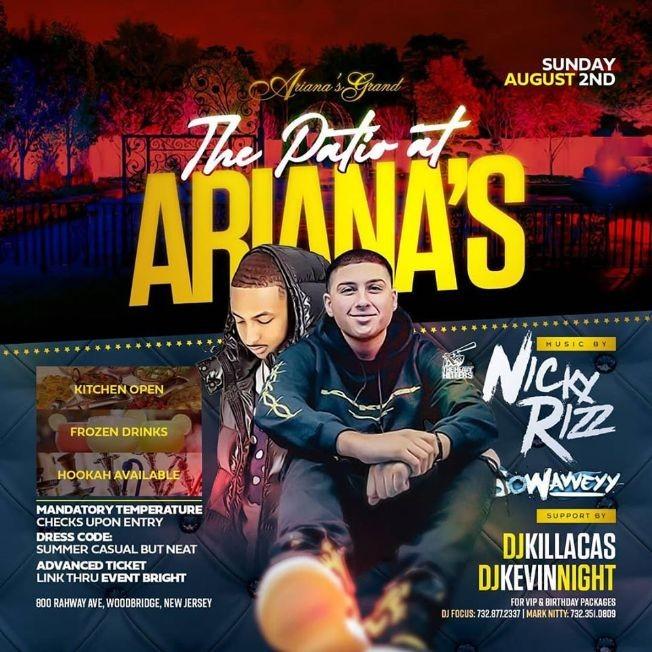 Flyer for Patio Sundays DJ Nicky Rizz Live At Adriana's