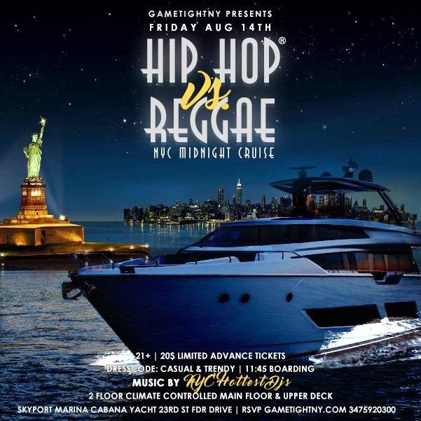 Flyer for NYC Hip Hop vs. Reggae® Midnight Yacht Party at Skyport Marina Cabana 2020