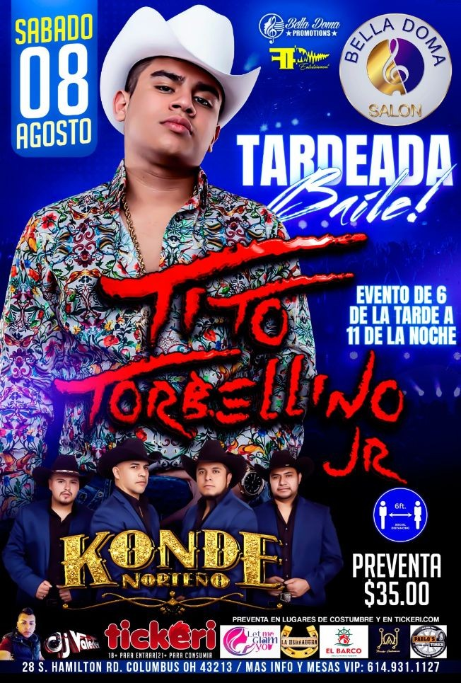Flyer for Tito Torbellino JR y Konde Norteno en Columbus OH / CONFIRMED