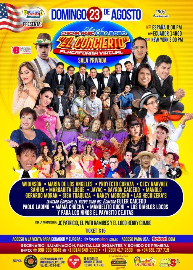 Flyer for Chicha Fest USA 2020 El Concierto!