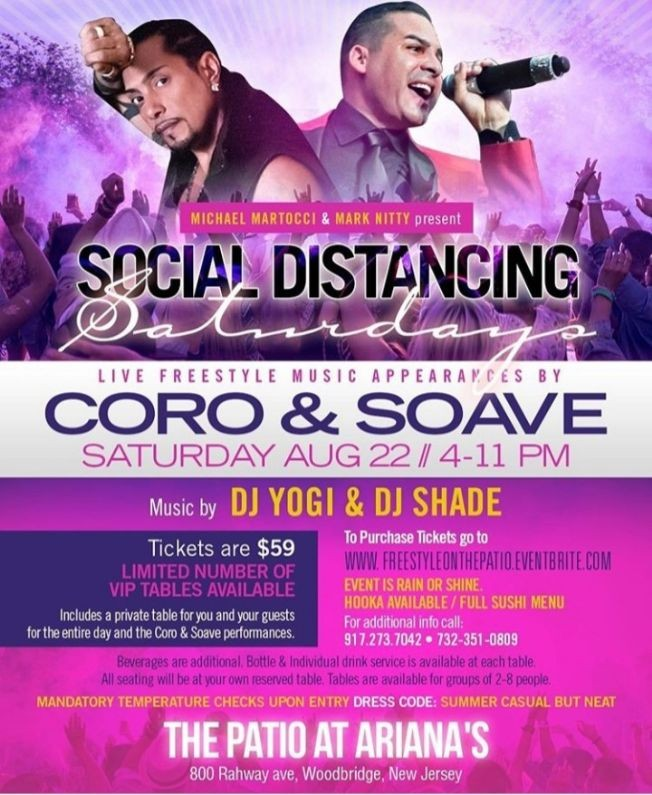 Flyer for Freestyle On The Patio Coro & Soave Live At Ariana's