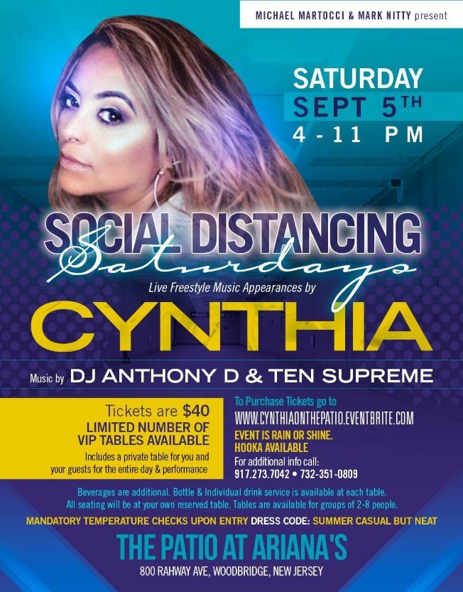 Flyer for Freestyle On The Patio Cynthia Live At Adriana's