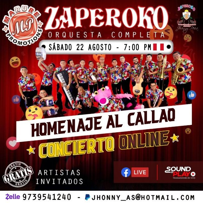 Flyer for Zaperoko en Concierto Virtual Gratis!