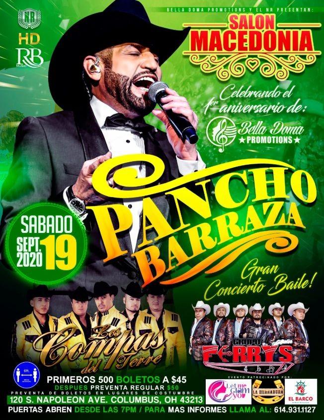 Flyer for Pancho Barraza, Los Compas del Terre y Ferrys
