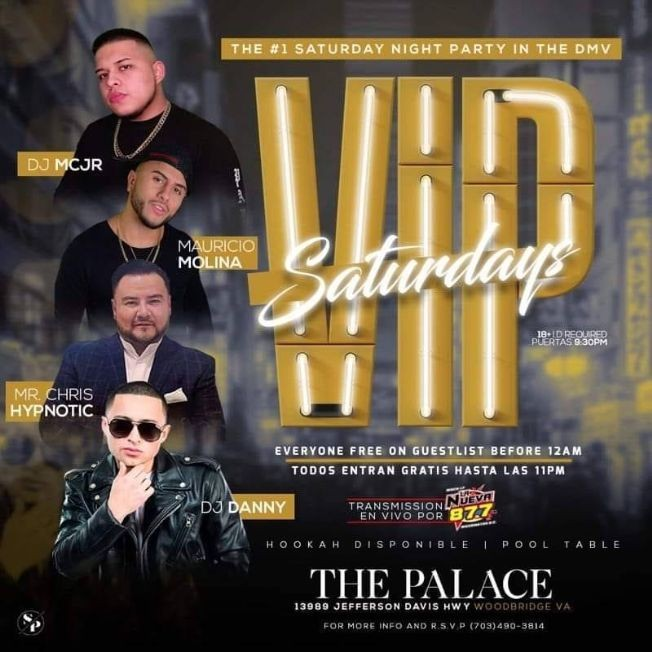 Flyer for VIP Saturdays en The Palace Nightclub!
