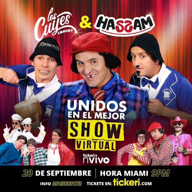 Flyer for Los Cuyes y Hassam en el mejor Comedy Show Virtual en Vivo!