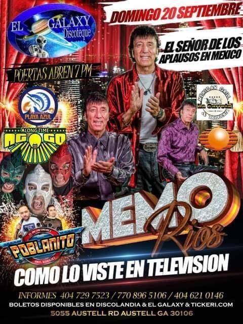 Flyer for El Señor de los aplausos Memo Rios en Vivo!