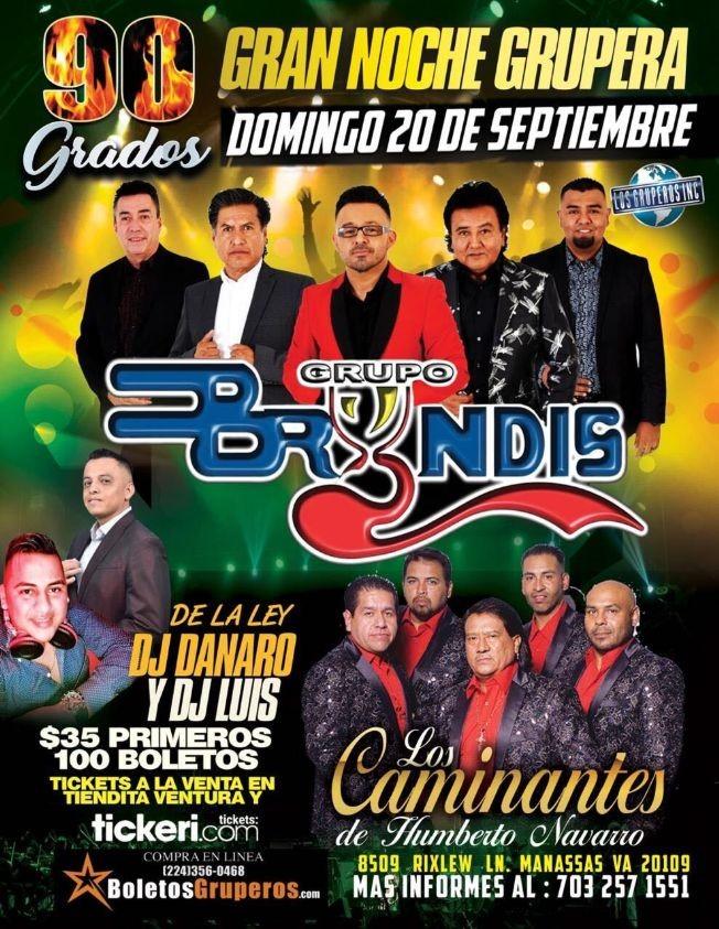 Flyer for Gran Noche Grupera con Grupo Bryndis y Los Caminantes de Humberto Navarro en Vivo!