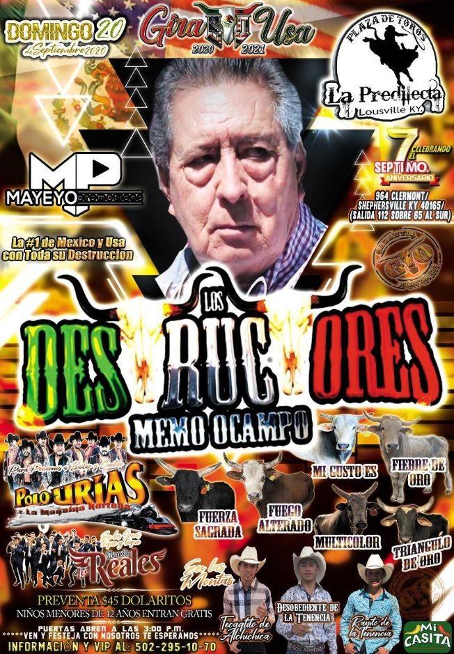 Flyer for Jaripeo Rancho Los Destructores de Memo Ocampo con Polo Urias y la Maquina Norteña y mas!