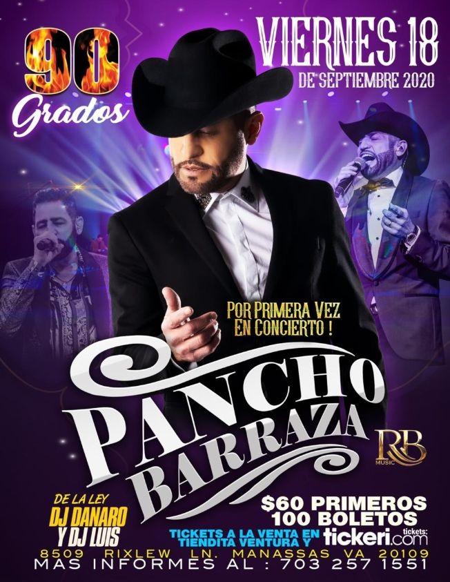 Flyer for Pancho Barraza en Manassas VA