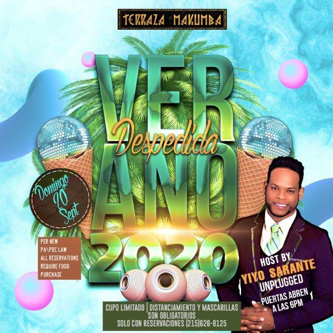 Flyer for Despedida Verano 2020 hosted by Yiyo Sarante