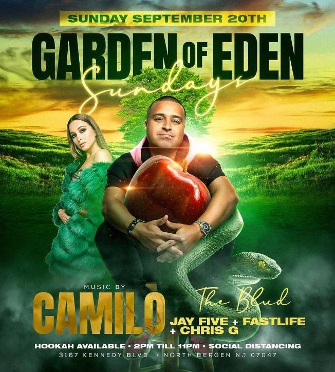 Flyer for Garden Of Eden Sundays DJ Camilo Live At The Boulevard
