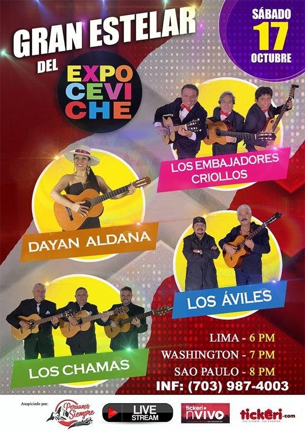 Flyer for Dayan Aldana, Los Embajadores Criollos, Los Aviles y Los Chamas en concierto virtual en Vivo!