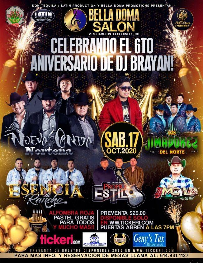 Flyer for 6to Aniversario de DJ Brayan con Nueva Onda Nortena, Jimadorez del Norte y mucho mas!