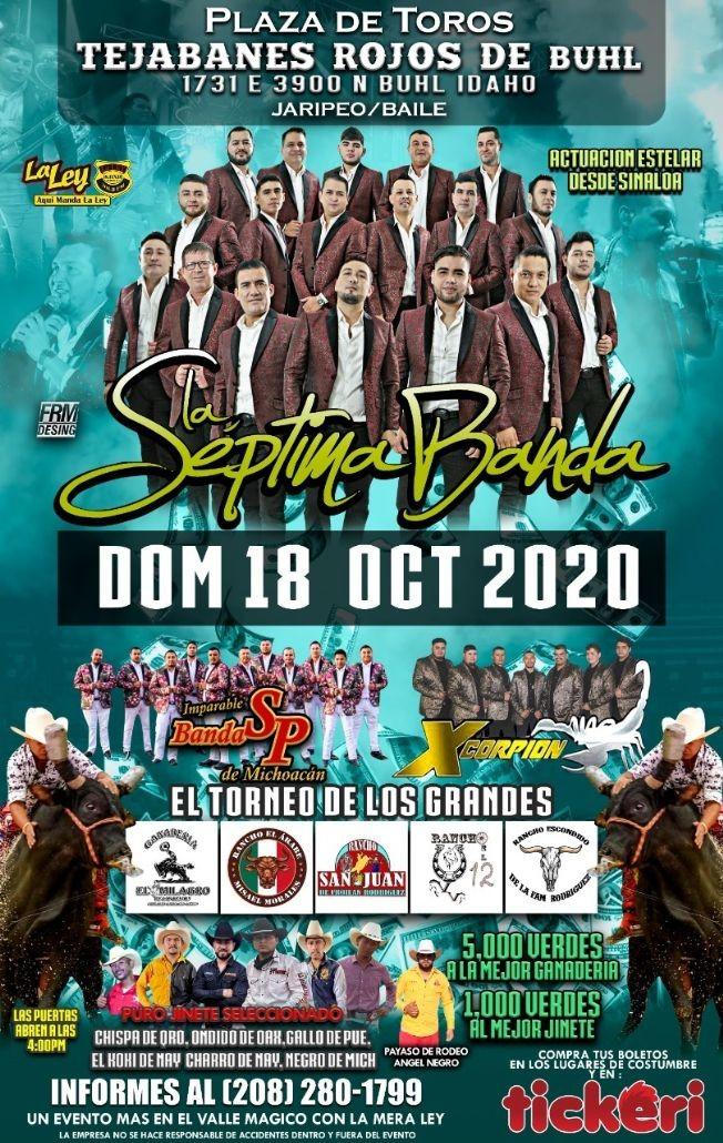 Flyer for Gran Jaripeo Baile con La Septima Banda, Banda SP, Xcorpion y mucho mas!