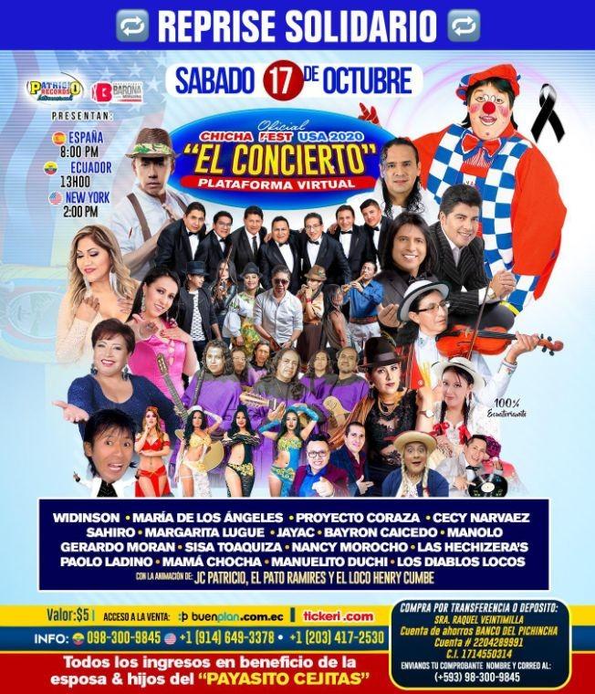 Flyer for Chicha Fest USA 2020 con Widinson, Maria de los Angeles y mas artistas en el gran Concierto Virtual Reprise!