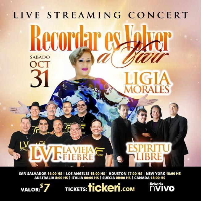 Flyer for Ligia Morales, Espiritu Libre, La Vieja Fiebre desde El Salvador en Concierto Virtual en Vivo!