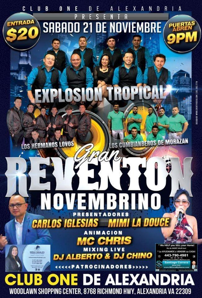 Flyer for Gran Reventon Tropical con Los Hermanos Lovo, Los Cumbiamberos de Morazan y mas!
