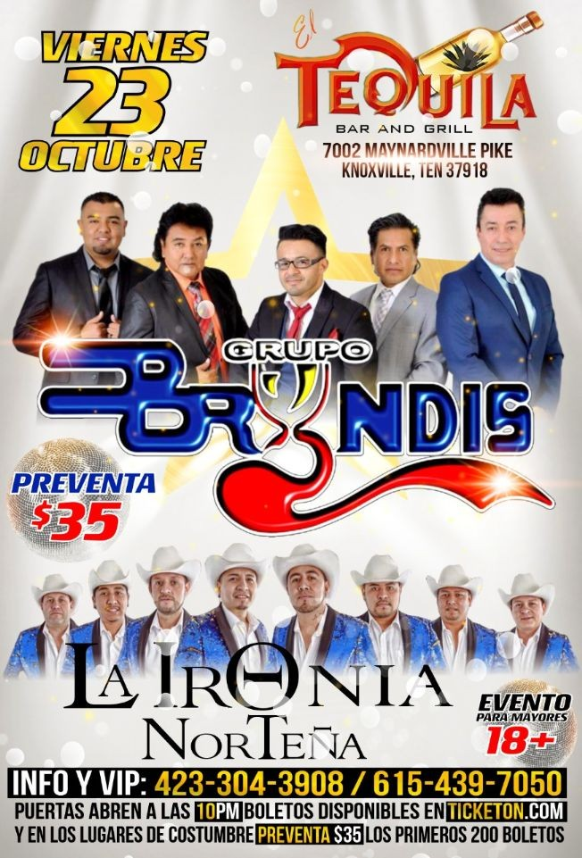 Flyer for Grupo Bryndis y La Ironia Nortena