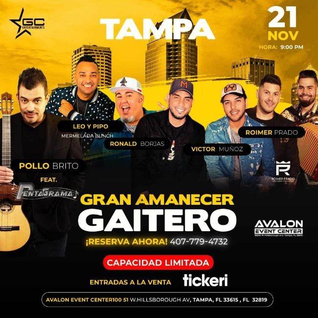 Flyer for Gran Amanecer Gaitero con Pollo Brito, Leo & Pipo, Ronald Borjas, Victor Muñoz, Roimer Prado y mas!