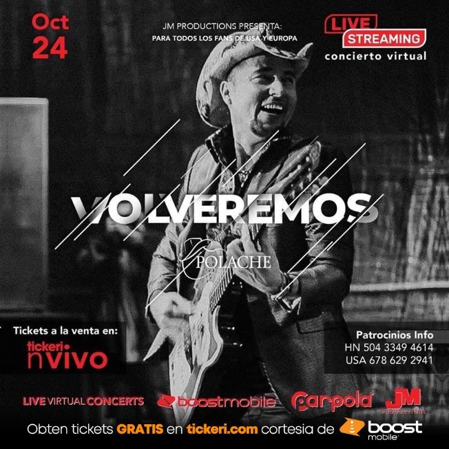 Flyer for Desde Honduras: Polache en un gran Concierto Virtual en Vivo!