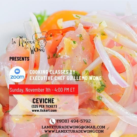 """Flyer for """"Peruvian Ceviche""""  Zoom Cooking Class By Chef Wong (English Group)"""
