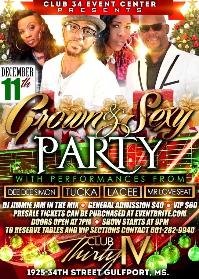 Flyer for Grown & Sexy Party with Dee Dee Simon, Tucka, Lacee, Mr Love Seat and More!