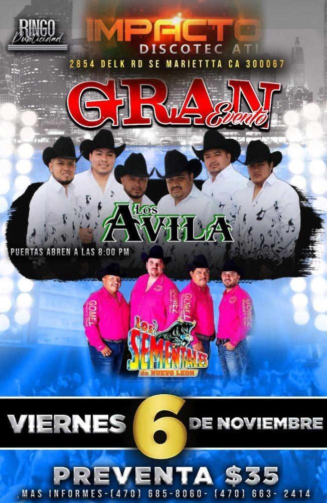 Flyer for Los Avila y Los Sementales de Nuevo Leon en Vivo!