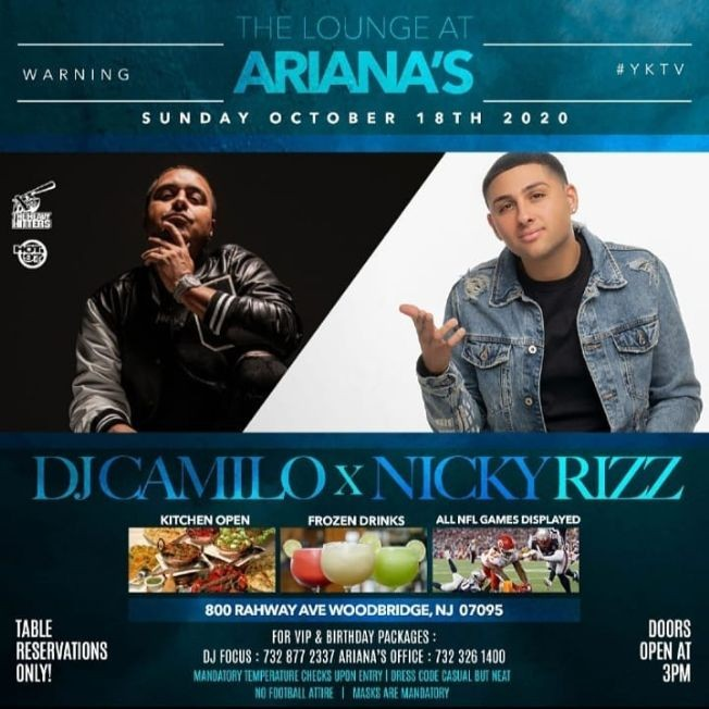 Flyer for Patio Sundays DJ Camilo Live At Ariana's