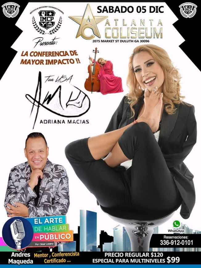 Flyer for Adriana Macias y Andres Maqueda en una Conferencia de Impacto en Georgia!
