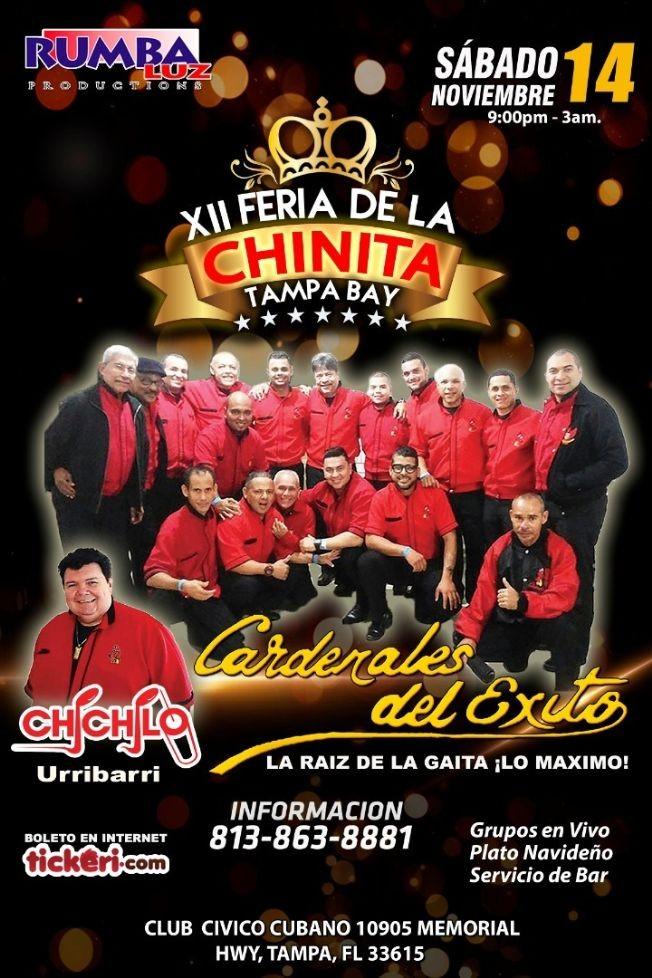 Flyer for XII Feria de la Chinita en Tampa Bay con Cardenales del Exito y Chichilo Urribarri en Vivo!