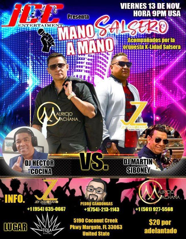 Flyer for Mano a Mano Salsero Mauricio Cachana vs Jey Zamorano en Vivo!
