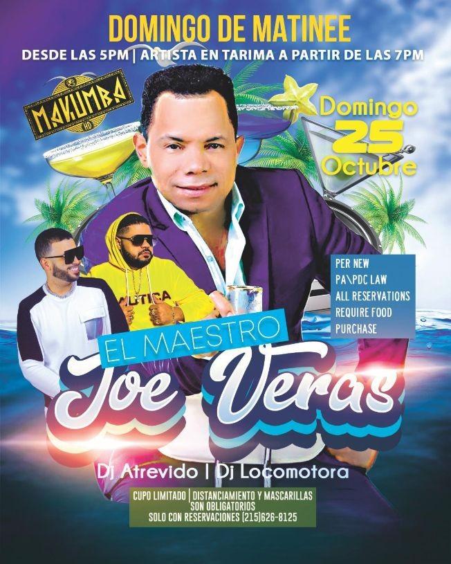 Flyer for Domingo de Matinee con El Maestro Joe Veras en Vivo!