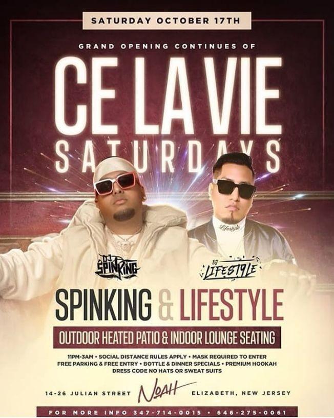 Flyer for Ce La Vie Saturdays DJ Spinking Live At Noah Osteria