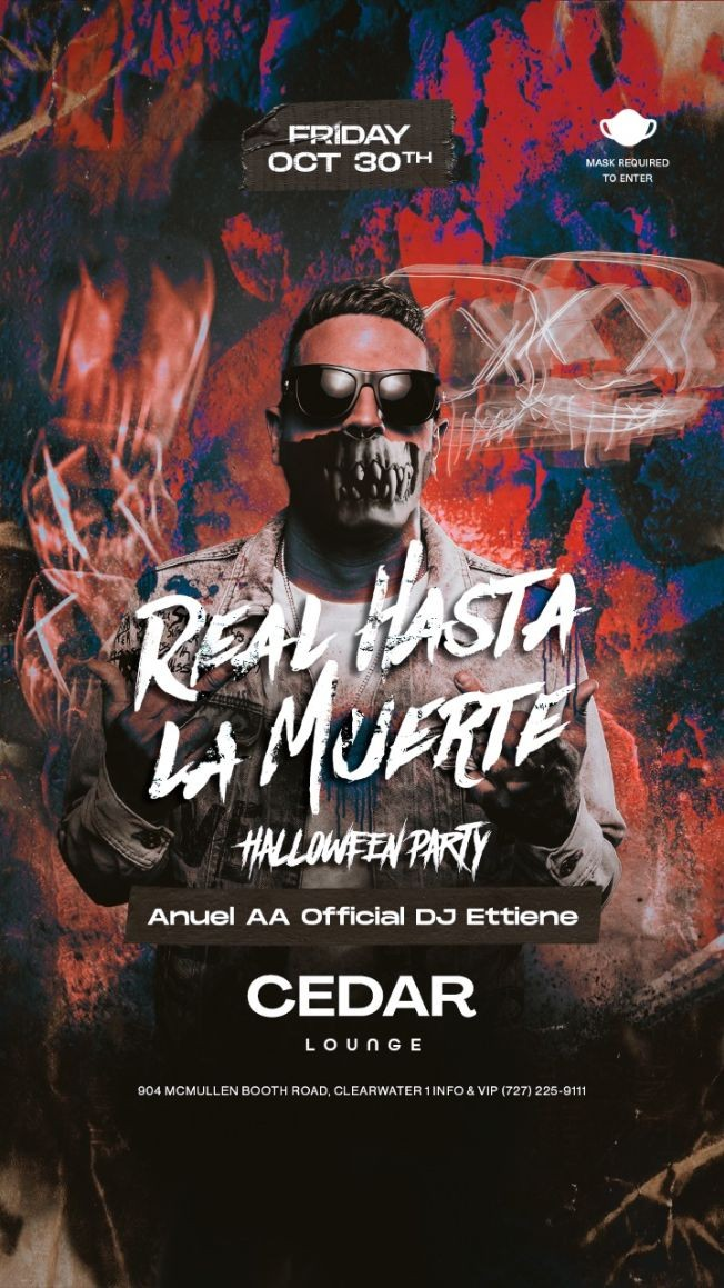 Flyer for Real Hasta La Muerte Halloween Party with Anuel AA Official DJ ETTIENE