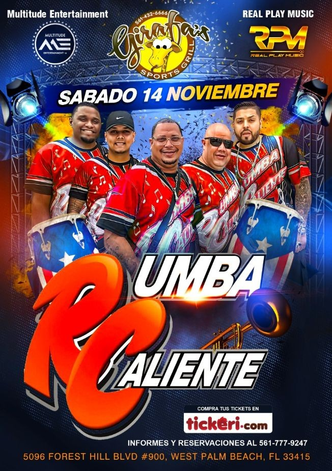 Flyer for RUMBA CALIENTE LIVE @ GIRAFA'S SPORTS GRILL