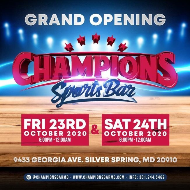 Flyer for Grand Opening Champion Sports Bar en Silver Spring!