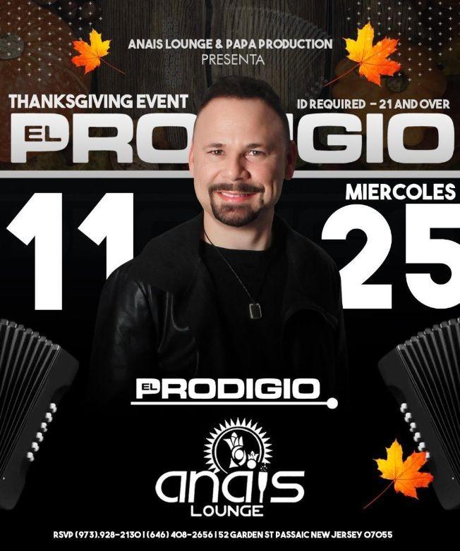 Flyer for El Prodigio en Vivo en Anais de Passaic!