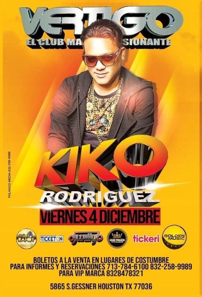 Flyer for Kiko Rodriguez en Vivo en Vertigo!