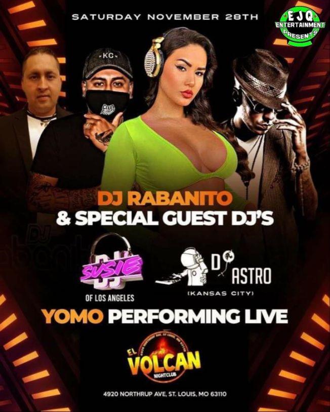 Flyer for Yomo, dj susie ,dj astro & dj rabanito