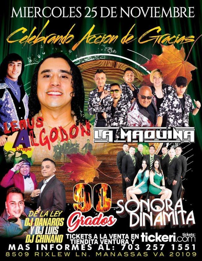 Flyer for Celebrando Accion de Gracias llegan Lemus y su Grupo Algodon, La Maquina y La Sonora Dinamita en Vivo! POSTPONED