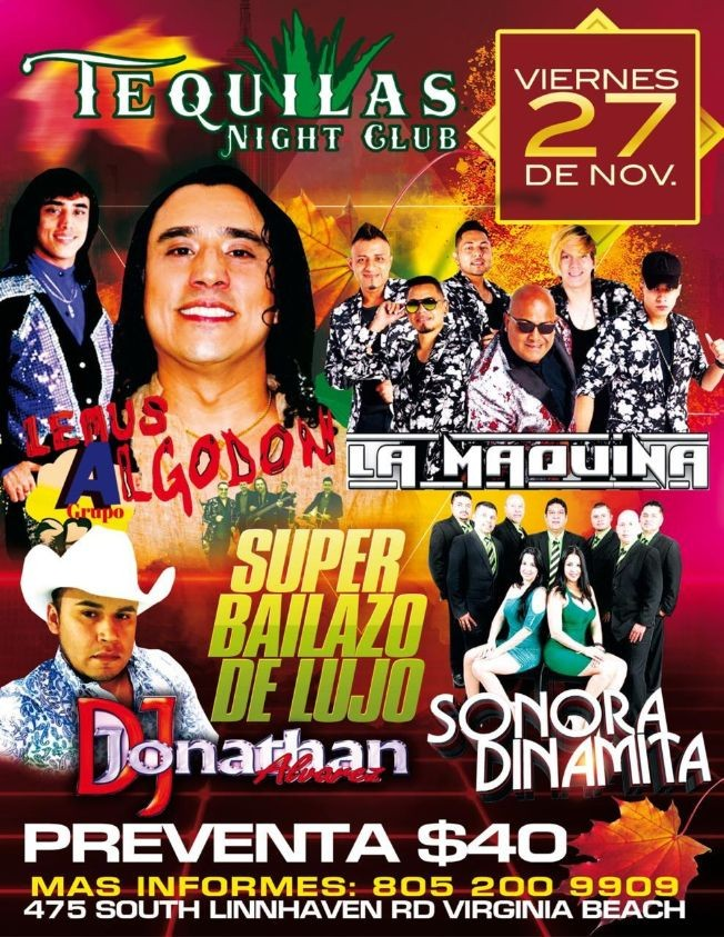 Flyer for Super Bailazo con Lemus y su Grupo Algodon, La Maquina y La Sonora Dinamita en Vivo! POSTPONED