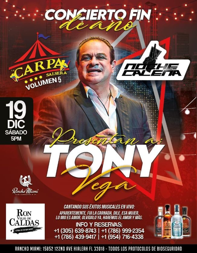 Flyer for Carpa Salsera y Noche Caleña con Tony Vega