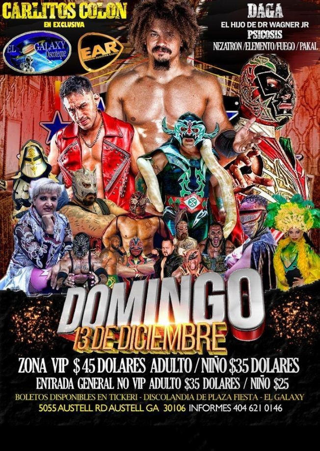 Flyer for Promociones Neza presenta: Lucha Libre con Daga, Hijo de Wagner Jr, Psicosis y mas!