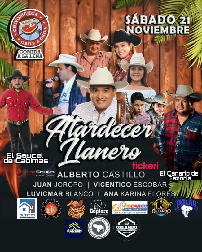 Flyer for Atardecer Llanero en Chivo Mujica Grill & Chill
