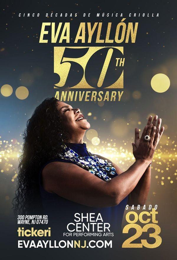 Flyer for Eva Ayllon 50 Aniversario En Wayne, NJ