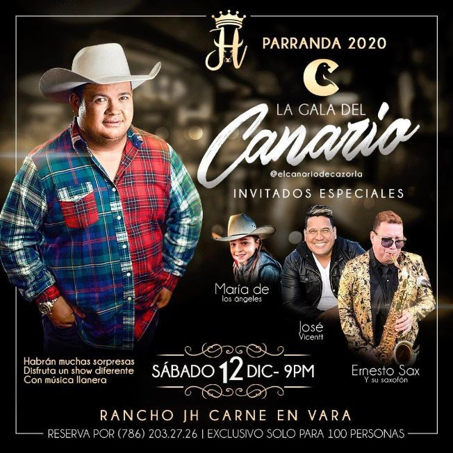 Flyer for La Gala del Canario invitados Maria de los Angeles, Jose Vicenti, Ernesto Sax y Mas!